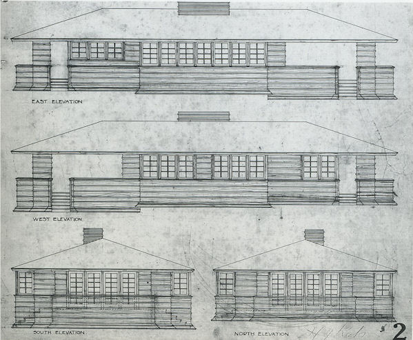 pitkin cottages used elevation w lloyd plans apprentice geiger foundation john east frank on of archives jg cottage permission drawing by wright
